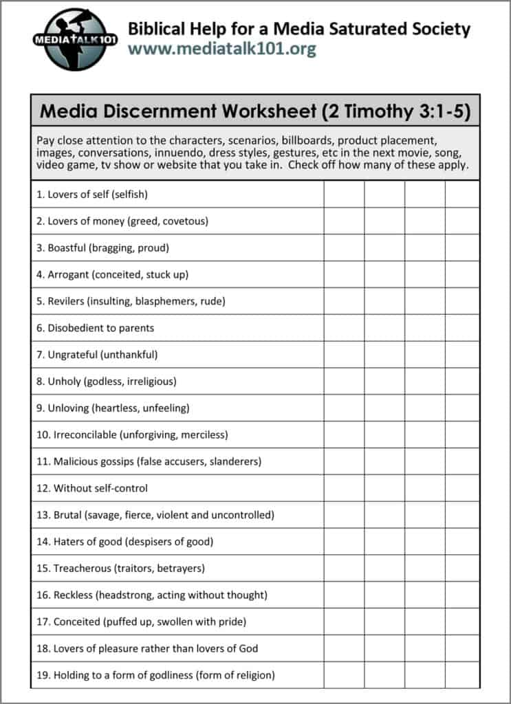 Media Discernment Worksheet | Media Talk 101